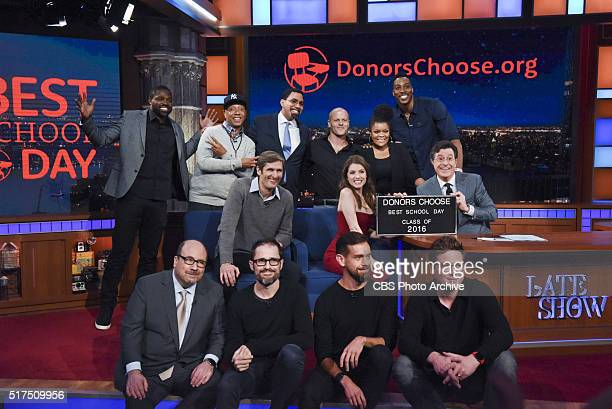 Contributors from Donors Choose pose for a class picture on The Late Show with Stephen Colbert Thursday March 10 2016 on the CBS Television Network...