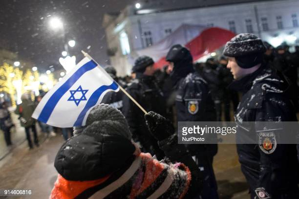 Contrmanifestation to farright protest near Presidental Palace in Warsaw on February 5 2018 Manifestation organized by FarRight groups to protest...
