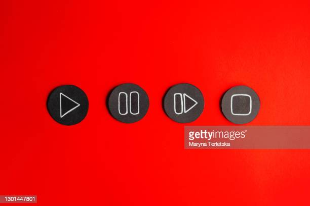 control buttons for watching a movie or video: play, pause, skip, stop. - resting stock pictures, royalty-free photos & images