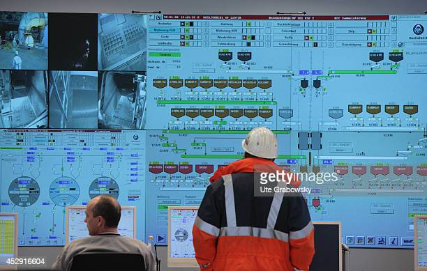 Control center for the new blast furnace 8 at ThyssenKrupp Steel AG on January 28 in Duisburg Germany ThyssenKrupp is one of the world's largest...