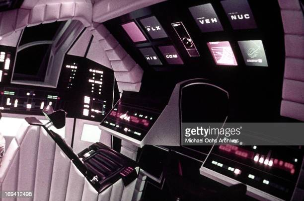A control center inside a space craft in a scene from the film '2001 A Space Odyssey' 1968