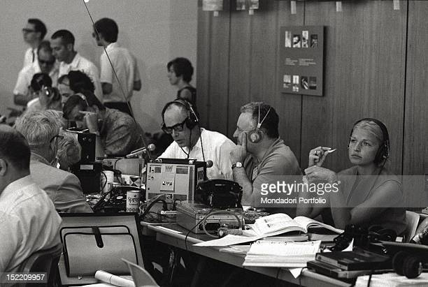 Control centre The technicians are working during the preparation phases of Apollo 11 mission
