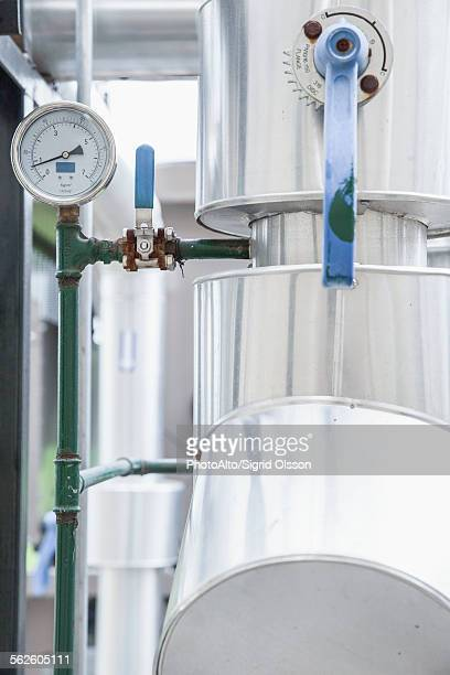 control lever on industrial equipment - incinerator stock photos and pictures