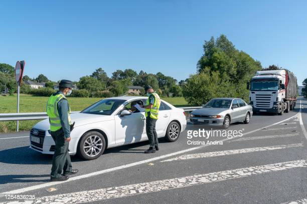 Control post of the Civil Guard of Traffic in one exit of the region of A Mariña on July 7 2020 in Lugo Spain The region of A Mariña in Lugo province...