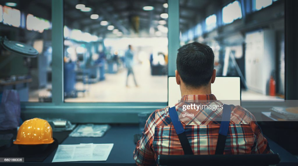 Control room at a modern industrial production line. : Stock Photo