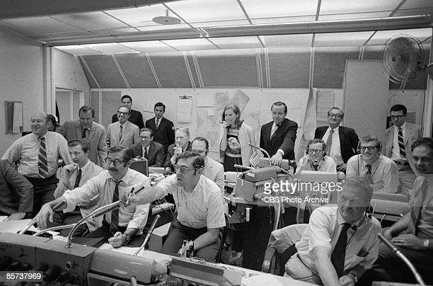 Control room at the CBS Space Center during the Splashdown and Recover of the Apollo 11 astronauts New York July 1969