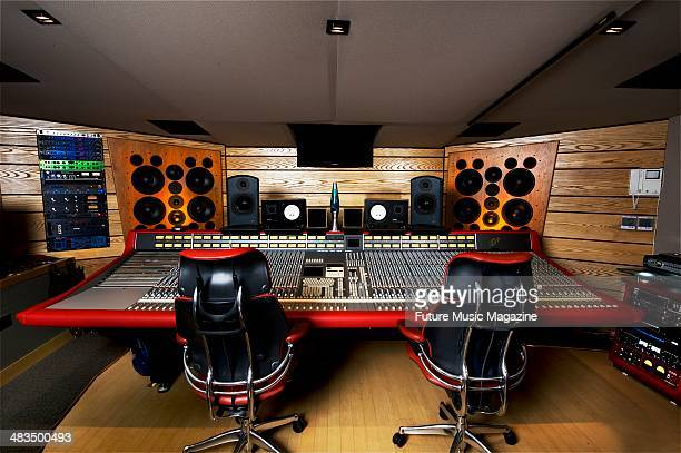 Control room with SSL mixing console and ATC monitors in Alpha Centauri Studios in London, taken on December 10, 2008.