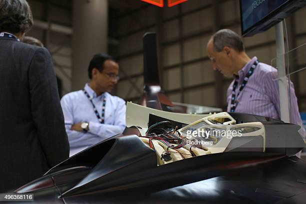 Control systems sit in the fuselage of a 3D printed drone at the Stratasys Ltd exhibition stand on the opening day of the 14th Dubai Air Show at...