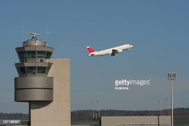 control tower 2 - passenger boarding bridge stock pictures, royalty-free photos & images