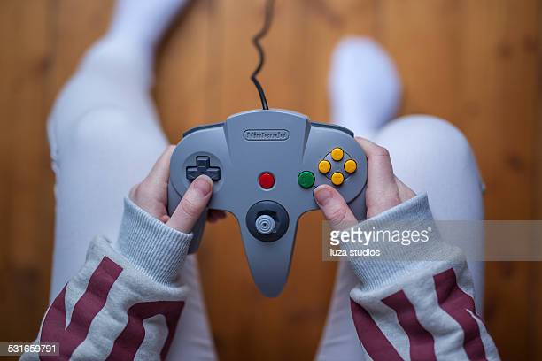 n64 controller - nintendo game controller - nintendo stock pictures, royalty-free photos & images