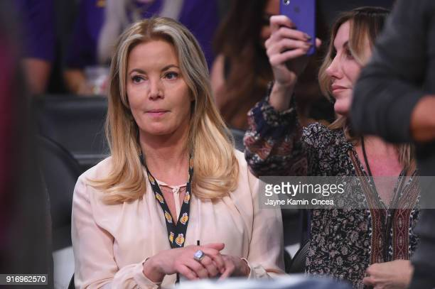 Controlling owner and president of the Los Angeles Lakers Jeanie Buss attends the game against the Phoenix Suns at Staples Center on February 6 2018...