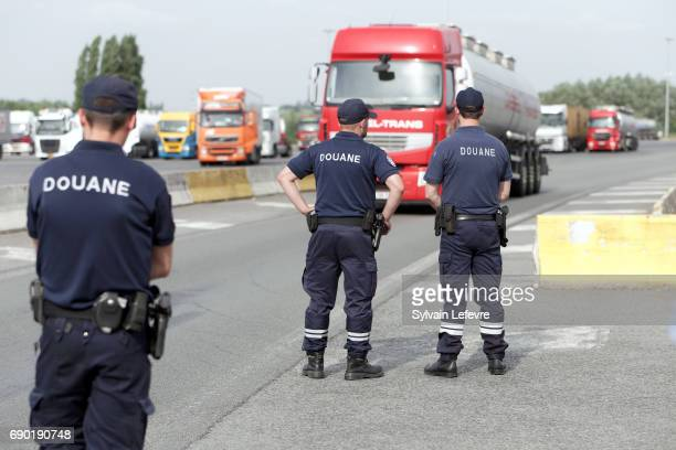 Controls by french customs officers and policemen in Rekkem northern France at the border between France and Belgium on May 29th 2017