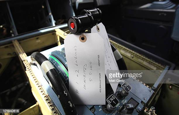 Controls in the flight deck of an aircraft at Air Salvage International are labled as it awaits being dismantled on June 9, 2010 in Kemble, England....