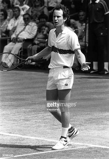 Controversial American tennis player John McEnroe at Wimbledon Tennis Championships when he was knocked out by Kevin Curren of South Africa