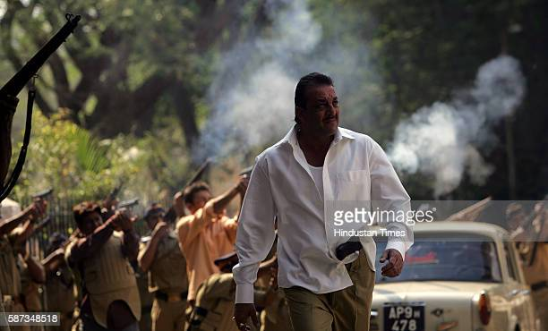 Controversial bollywood actor Sanjay Dutt shoots amid fake gunfire for Shootout at Lokhandwala at Filmcity a movie based on the Maya Dolas encounter...