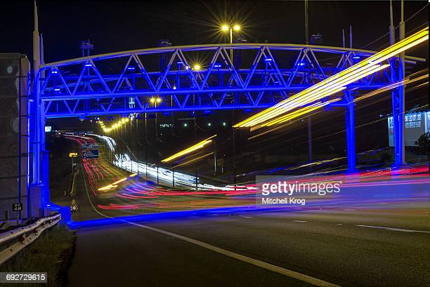 Controversial Electronic Tolling (E-Tolls) Gantry on the N3 Highway at night in Johannesburg, Gauteng Province, South Africa