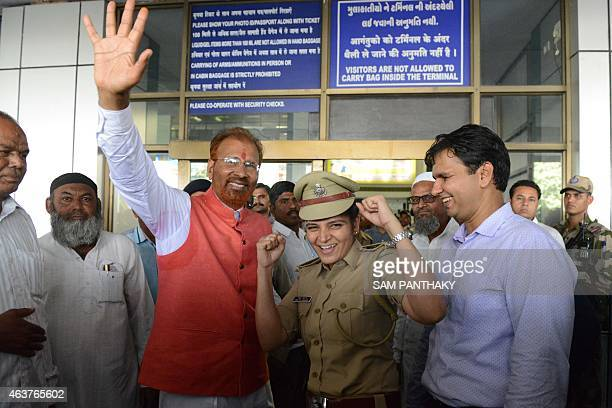 Controversial former Indian Police Service officer D G Vanzara and his niece Manjita Vanzara celebrate his freedom as Vanzara arrives at the Sardar...