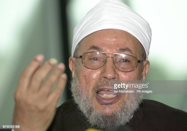 Controversial Muslim cleric Dr Yusuf alQaradawi addressing a news conference at City Hall in London where he was chairing the annual meeting of the...