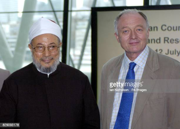 Controversial Muslim cleric Dr Yusuf alQaradawi with Ken Livingstone the Mayor of London at City Hall where he was chairing the annual meeting of the...