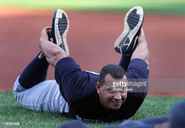 Controversial New York Yankees third baseman Alex Rodriguez on the field for pregame warmups before the Boston Red Sox take on the New York Yankees...