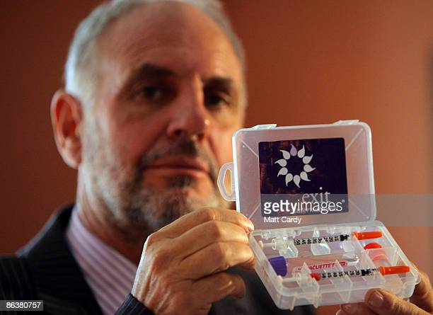 Controversial voluntary euthanasia campaigner Dr Philip Nitschke holds up a drug testing kit which is used as part of assisted suicides following a...