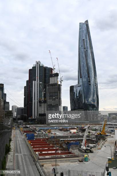 Contruction work on the city metro is halted in the central business district of Sydney on July 19 amid a lockdown in Melbourne and Sydney as...