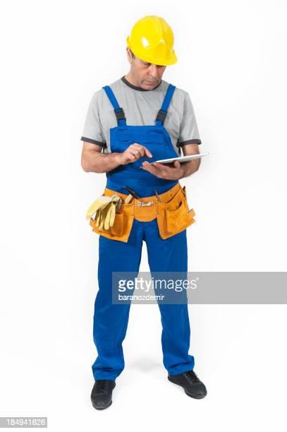 Bau Arbeiter mit Tablet-Computer