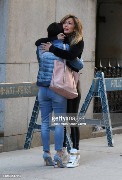 Contsance Wu and Jennifer Lopez are seen on the set of 'Hustlers' on April 01 2019 in New York City