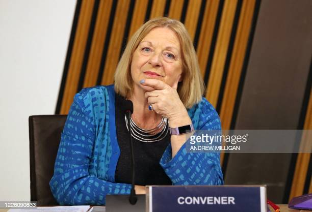 Convener of the Harrassment committee, Linda Fabiani, reacts as Leslie Evans , Permanent Secretary to the Scottish Government, gives evidence at...