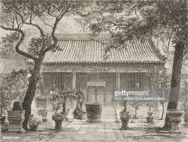 Convent chapel in the eunuch cemetery, China, drawing by Thomas Taylor from a photograph by Morache, from Beijing and North China, by T Choutze...