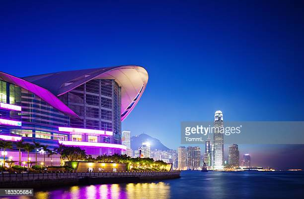 convention center, hong kong - wanchai stock photos and pictures