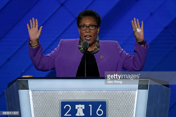 Convention Chair Rep Marcia Fudge calls to order the second day of the Democratic National Convention at the Wells Fargo Center July 26 2016 in...