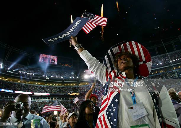 Convention goer wears patriotic colors on day four of the Democratic National Convention at Invesco Field at Mile High August 28, 2008 in Denver,...