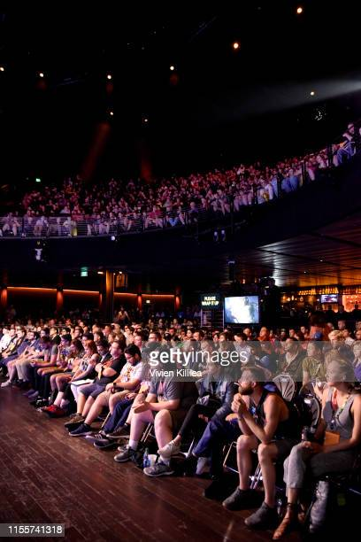 Convention goers attend the Elon Musk in Conversation with Todd Howard panel during E3 2019 at the Novo Theatre on June 13 2019 in Los Angeles...