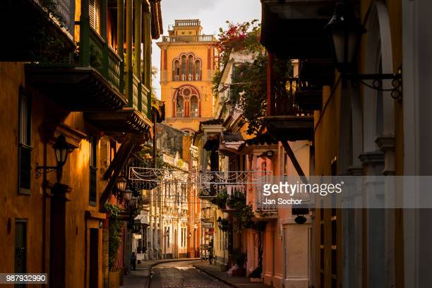 Convento de San Agustín is seen at the end of the street located in the colonial walled city during a sunny morning on December 12 2017 in Cartagena...