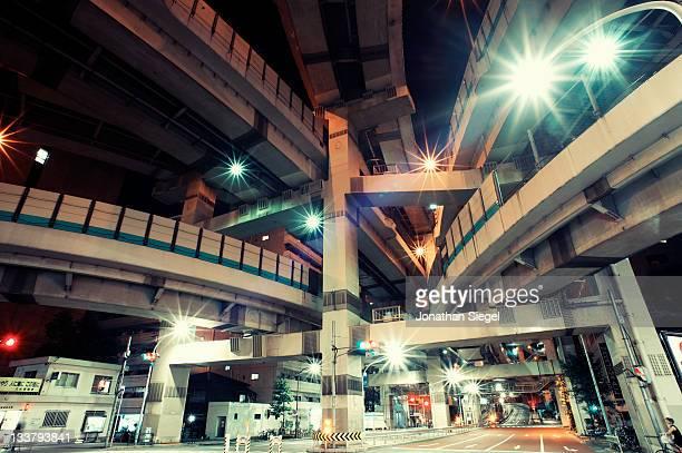 Converging futuristic Tokyo highways