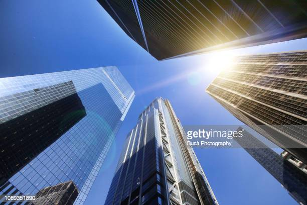 converging perspective, view from below of office towers at the world trade center site in lower manhattan, new york city, usa - diminishing perspective stock pictures, royalty-free photos & images