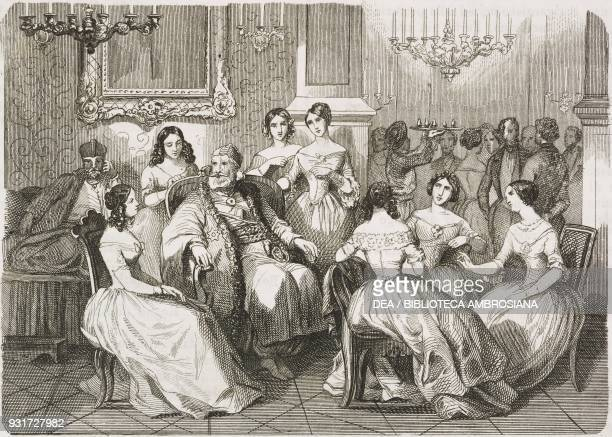 Conversation in the reigning prince of Moldavia's residence, Jassy, Romania, engraving from L'album, giornale letterario e di belle arti, October 14...