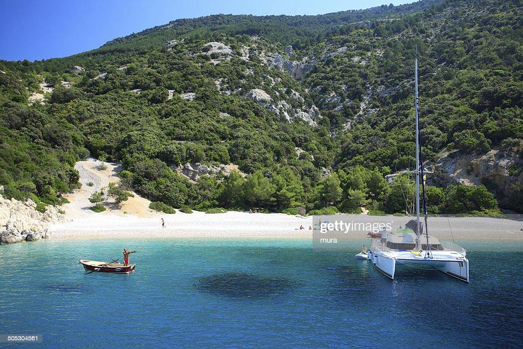 Conversation on paradise beach : Stock Photo