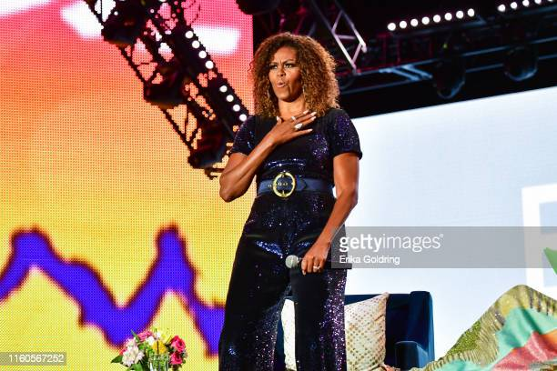 A conversation with Michelle Obama takes place during the 2019 ESSENCE Festival at the MercedesBenz Superdome on July 06 2019 in New Orleans Louisiana