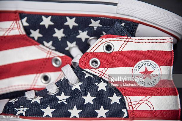 912d10f959d5 Converse All Star kids canvas shoes in American flag pattern on display at Converse  store in