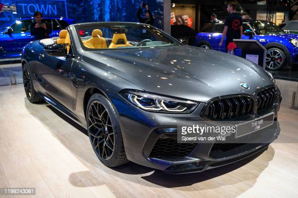 Convertible Grand Tourer sports car on display at Brussels Expo on January 9, 2020 in Brussels, Belgium. The BMW M8 is available as 2-door...