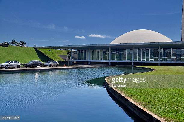 convex dome facing down the federal senate brasili - brasilia stock pictures, royalty-free photos & images