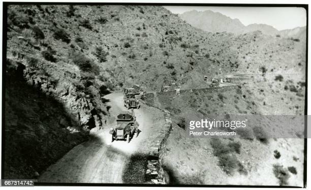Convey of armoured Rolls Royce vehicles climb through the Khyber Pass. Background to this image: With the threat of War looming in Europe, Edward...