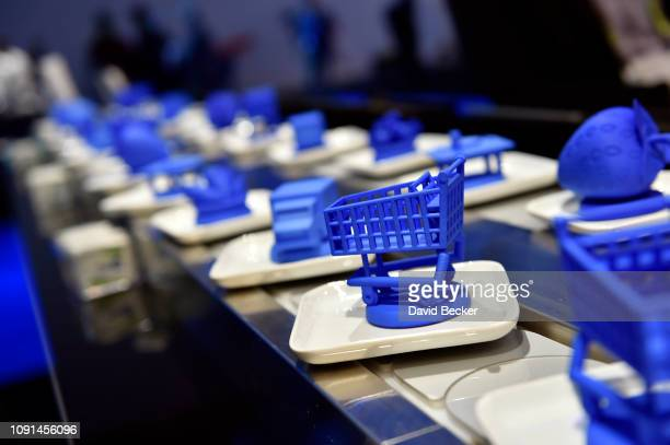Conveyer belt with objects is used to demonstrate blockchain technology at the IBM booth at CES 2019 at the Las Vegas Convention Center on January 8,...