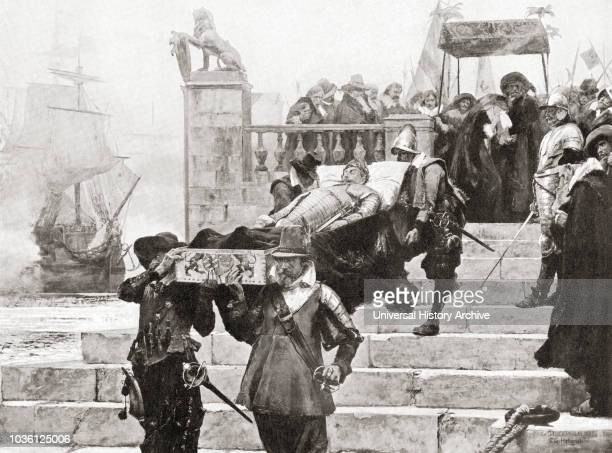 Conveying the body of Gustavus Adolphus to the ship at Wolgast for transfer to Sweden after his death at The Battle of LÌ_tzen, November 6, 1632....