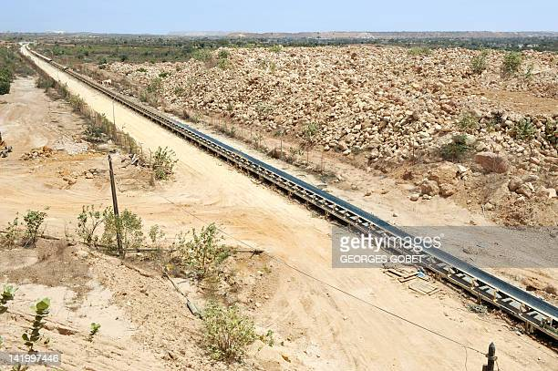 A conveyor belt is pictured in the phosphate mine and factory in Mboro north of Dakar on April 30 2008 The Indian Consortium Iffco undertook the...