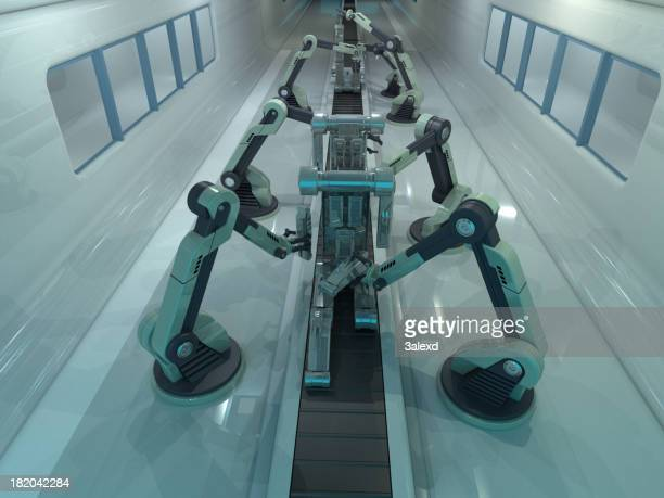 Conveyor belt with arms and metal