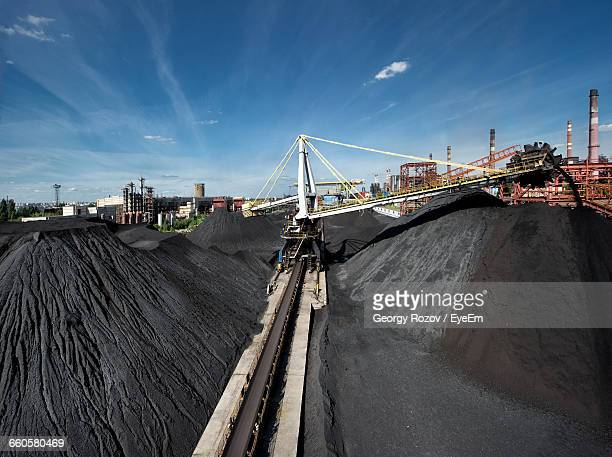 Conveyor Belts Moving Gravel At Construction Site