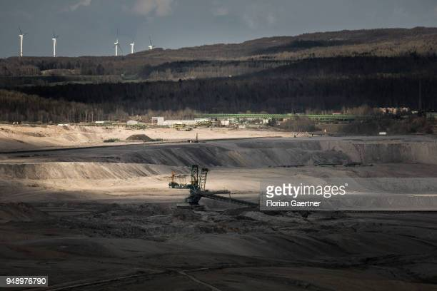 A conveyor bridge is pictured at the surface mining on April 13 2018 in Bogatynia Poland
